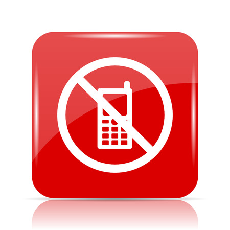 Mobile phone restricted icon. Mobile phone restricted website button on white background. Stock Photo