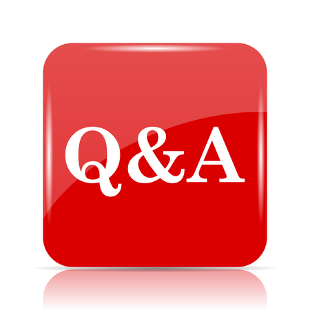 Q&A icon. Q&A website button on white background.