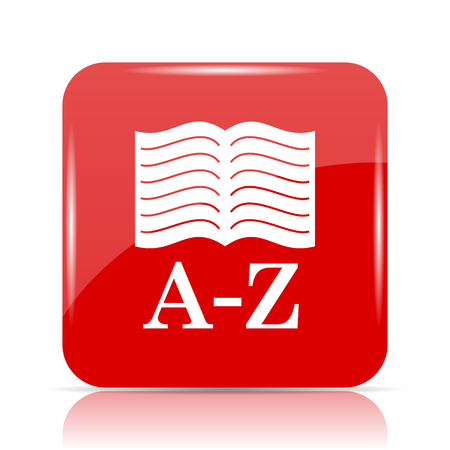 A-Z book icon. A-Z book website button on white background. Stock Photo