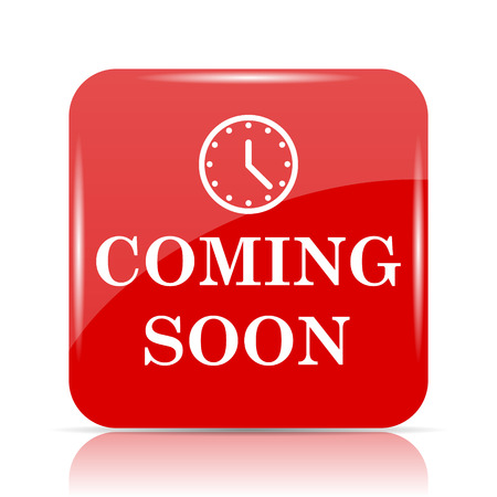 Coming soon icon. Coming soon website button on white background. Stock Photo