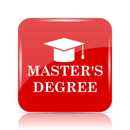 degree: Masters degree icon. Masters degree website button on white background.