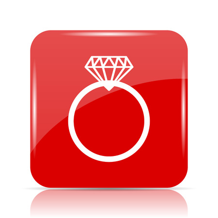 Diamond ring icon. Diamond ring website button on white background.