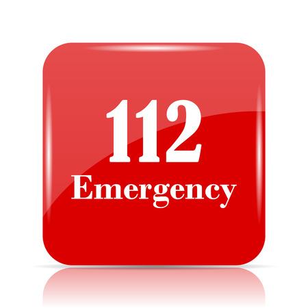 112 Emergency icon. 112 Emergency website button on white background. Stock Photo