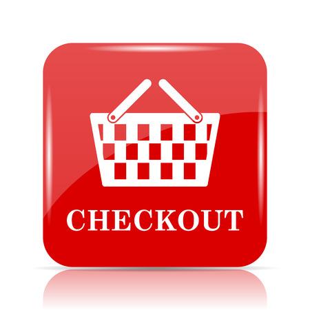 checkout: Checkout icon. Checkout website button on white background. Stock Photo