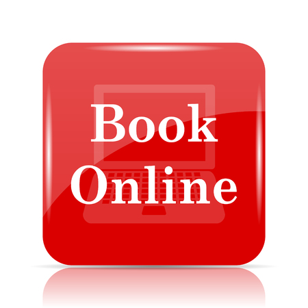 Book online icon. Book online website button on white background. Stock Photo