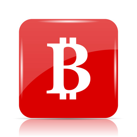 Bitcoin icon. Bitcoin website button on white background.