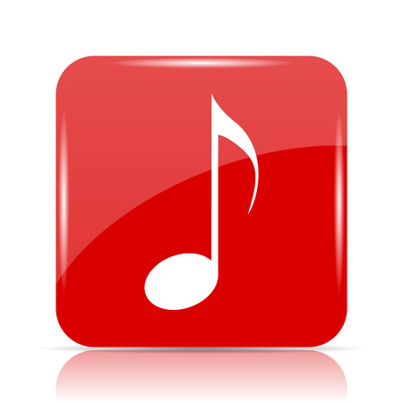 Musical note icon. Musical note website button on white background.