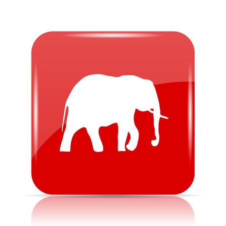 Elephant icon. Elephant website button on white background.