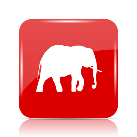 endanger: Elephant icon. Elephant website button on white background.