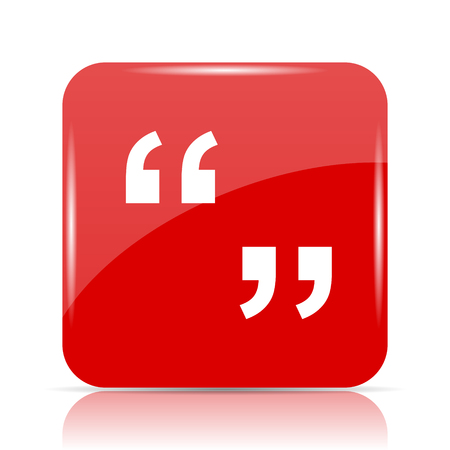 Quotation marks icon. Quotation marks website button on white background. Stock Photo