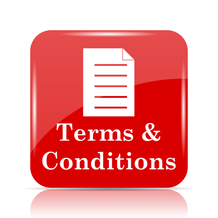 terms: Terms and conditions icon. Terms and conditions website button on white background.