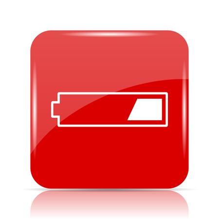 low energy: 1 third charged battery icon. 1 third charged battery website button on white background.
