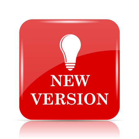 New version icon. New version website button on white background. Stock Photo