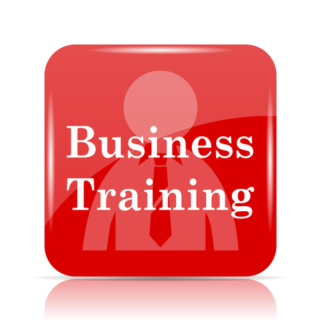 idea hurdle: Business training icon. Business training website button on white background.