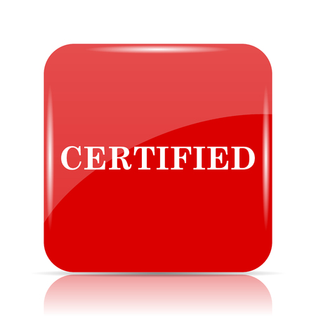 ratification: Certified icon. Certified website button on white background.