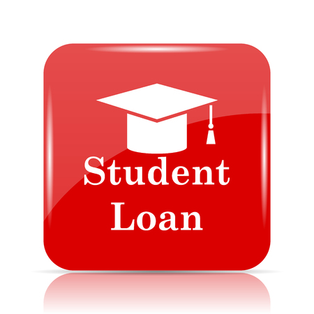 scholarship: Student loan icon. Student loan website button on white background. Stock Photo
