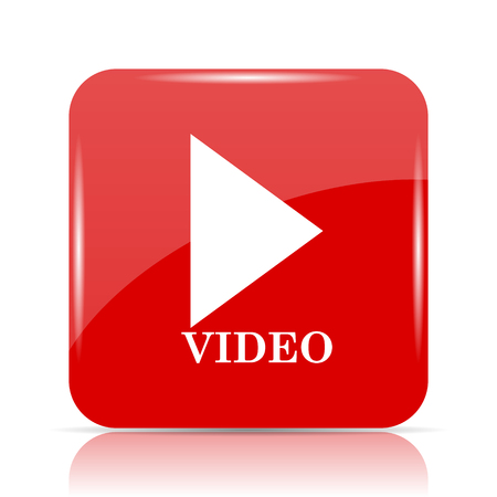 red button: Video play icon. Video play website button on white background.