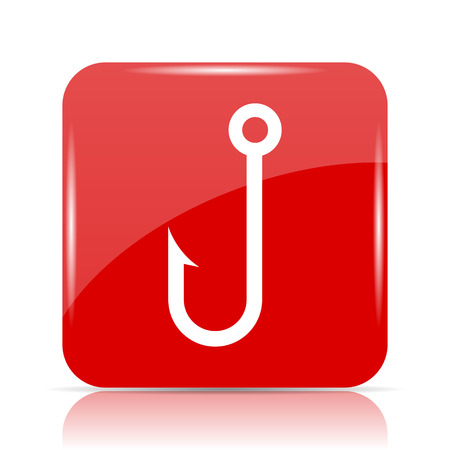 Fish hook icon. Fish hook website button on white background.