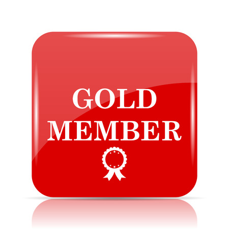 members only: Gold member icon. Gold member website button on white background.