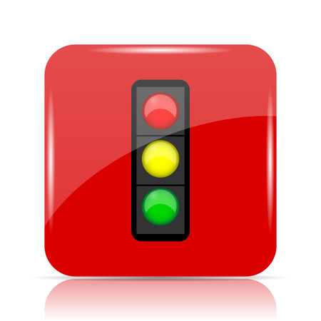 Traffic light icon. Traffic light website button on white background.