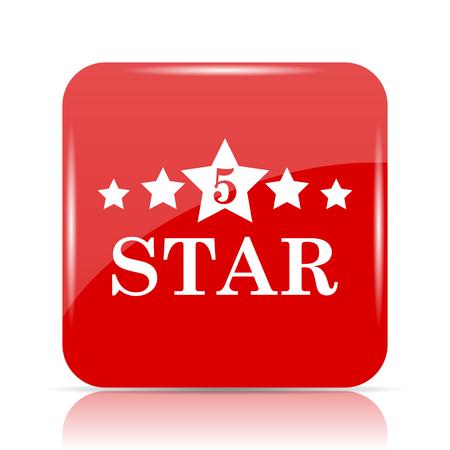 5 star icon. 5 star website button on white background.