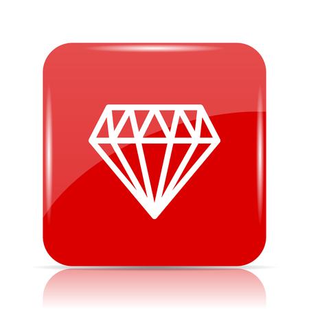 Diamond icon. Diamond website button on white background.