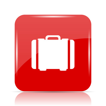 Suitcase icon. Suitcase website button on white background.