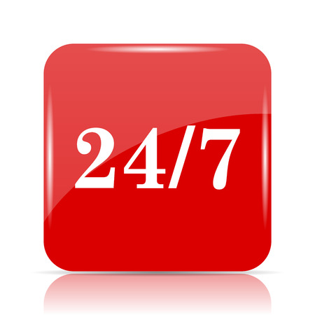 24 7 icon. 24 7 website button on white background.