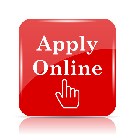 Apply online icon. Apply online website button on white background.