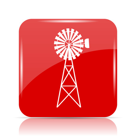 alternate: Classic windmill icon. Classic windmill website button on white background. Stock Photo