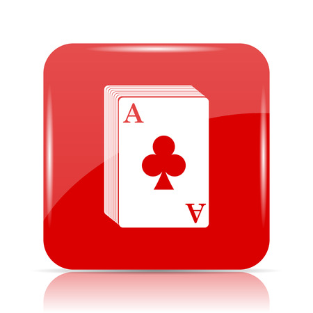 Deck of cards icon. Deck of cards website button on white background.