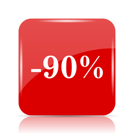 90: 90 percent discount icon. 90 percent discount website button on white background.