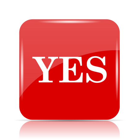 Yes icon. Yes website button on white background. Stock Photo