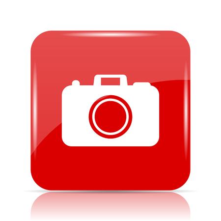 Photo camera icon. Photo camera website button on white background. Stock Photo