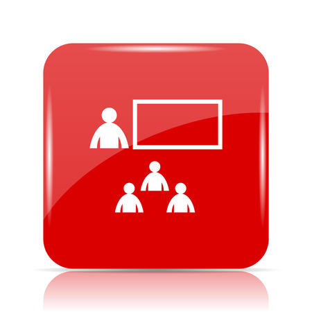 stage coach: Presenting icon. Presenting website button on white background.
