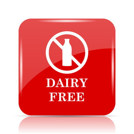 Dairy free icon. Dairy free website button on white background.
