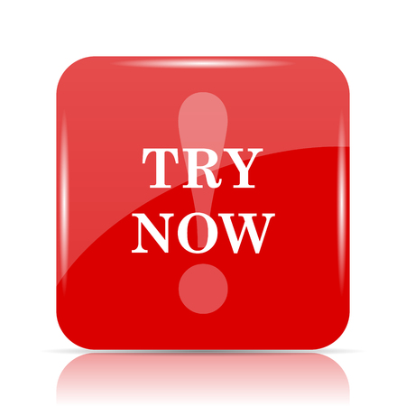 to try: Try now icon. Try now website button on white background. Stock Photo