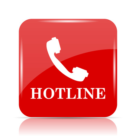 hotline: Hotline icon. Hotline website button on white background.
