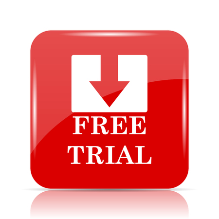 Free trial icon. Free trial website button on white background.