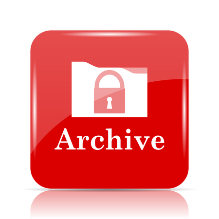 data archiving: Archive icon. Archive website button on white background.