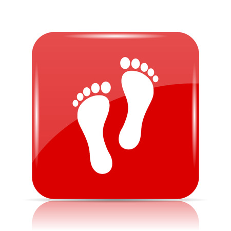 impression: Foot print icon. Foot print website button on white background.