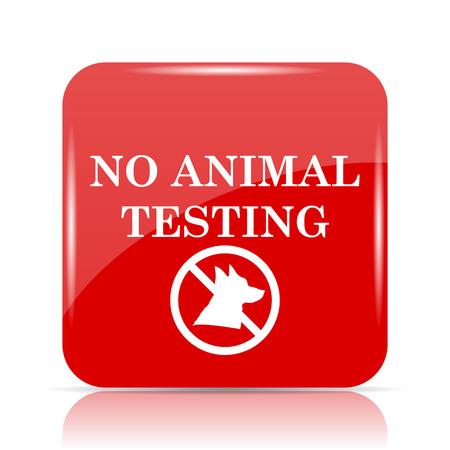 No animal testing icon. No animal testing website button on white background.