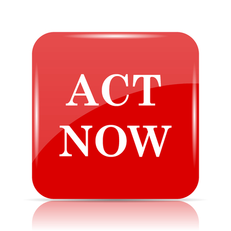 Act now icon. Act now website button on white background.