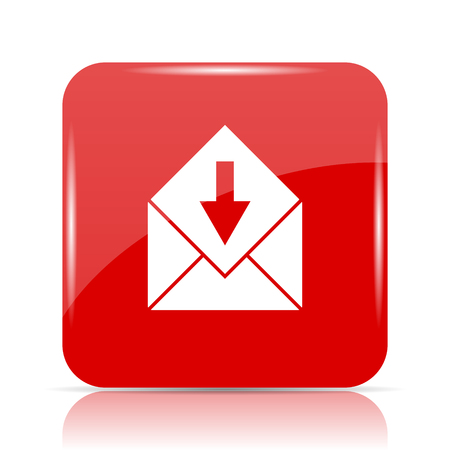 Receive e-mail icon. Receive e-mail website button on white background.