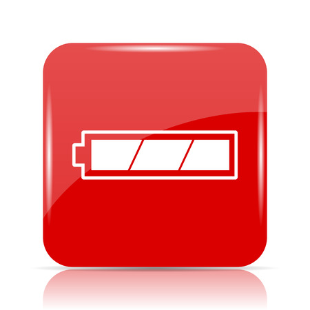 Fully charged battery icon. Fully charged battery website button on white background. Stock Photo