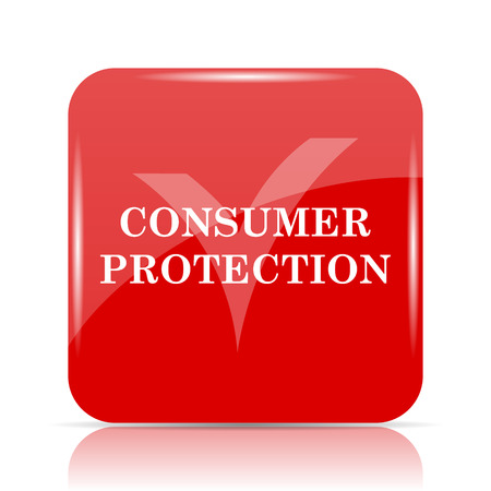 consumer: Consumer protection icon. Consumer protection website button on white background.
