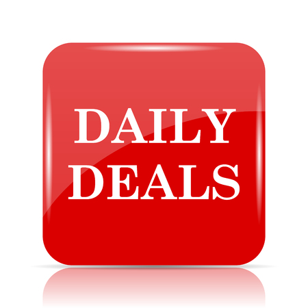 deals: Daily deals icon. Daily deals website button on white background.