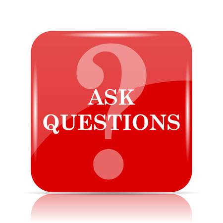 asked: Ask questions icon. Ask questions website button on white background.