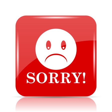 Sorry icon. Sorry website button on white background.