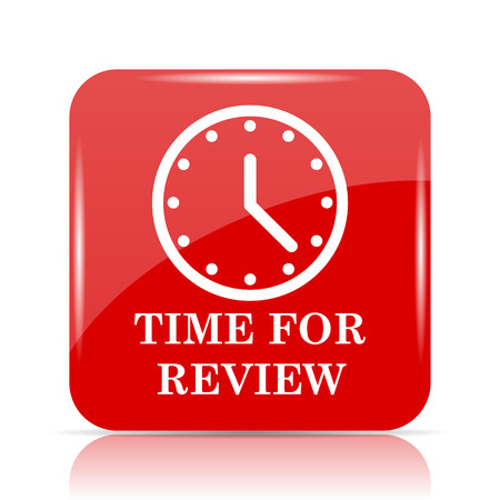 assess: Time for review icon. Time for review website button on white background.